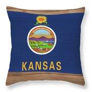 Kansas Rustic Map On Wood Throw Pillow