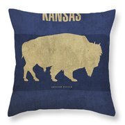 Kansas State Facts Minimalist Movie Poster Art Throw Pillow