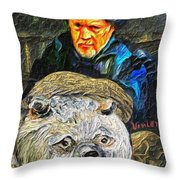 Kaptain Van Janned And His Trusty Bear Vincent Throw Pillow