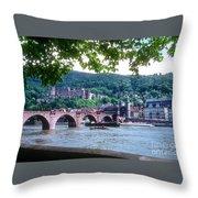 Karl Theodor Bridge And Heidelberg Castle  Throw Pillow