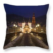 Karl Theodor Bridge With The Castle Throw Pillow