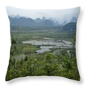 Karst Landscape Of Guangxi Throw Pillow