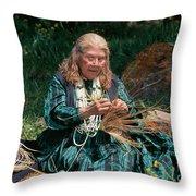 Kashia Pomo Woman Weaving Basket Throw Pillow