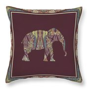 Kashmir Patterned Elephant 2 - Boho Tribal Home Decor  Throw Pillow