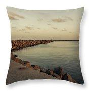 Kasimedu Pier, Chennai Throw Pillow