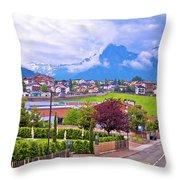 Kastelruth And Schlern Peak In Alps Landscape View Throw Pillow