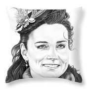 Kate Middleton Throw Pillow by Murphy Elliott