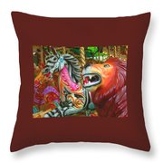Kate The Zebra And  Lion Carousel  Throw Pillow