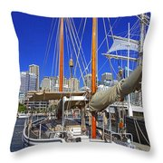 Kathleen Gillett The Artist Cruising Ketch Throw Pillow