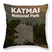 Katmai National Park In Alaska Travel Poster Series Of National Parks Number 34 Throw Pillow