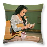 Katy Perry Painting Throw Pillow