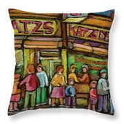 Katzs Delicatessan New York Throw Pillow