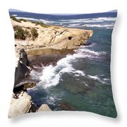 Kauai Coast With Shark Outcrop Throw Pillow