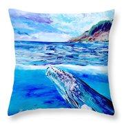 Kauai Humpback Whale Throw Pillow