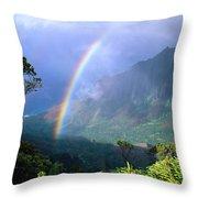 Kauai Rainbow Throw Pillow