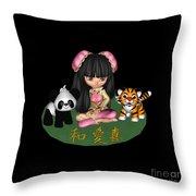Kawaii China Doll Friends Panda And Tiger Throw Pillow