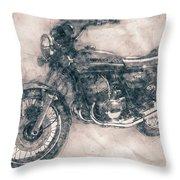 Kawasaki Triple - Kawasaki Motorcycles - 1968 - Motorcycle Poster - Automotive Art Throw Pillow