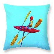 Kayak Guy On A Stick Throw Pillow