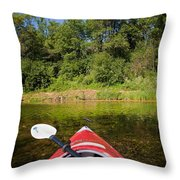 Kayak On A Forested Lake Throw Pillow