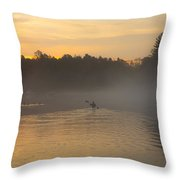 Kayak On The River At Dawn Throw Pillow