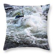 Kayak Roll Up In Pipeline Rapids 5959 Throw Pillow