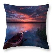 Kayak Sunrise Throw Pillow