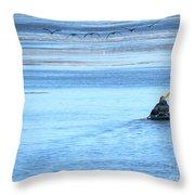 Kayaker And Geese Throw Pillow