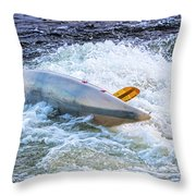 Kayaker Goes Over In Pipeline Rapids 5965ct Throw Pillow