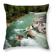 Kayaker Shooting The Cold Emerald Green Alpine Water Of The Uppe Throw Pillow