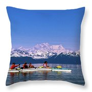 Kayakers In Alaska Throw Pillow