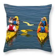 Kayakers In Bar Harbor Maine Throw Pillow