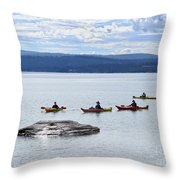 Kayakers Paddle To Fishing Cone On Yellowstone Lake Throw Pillow