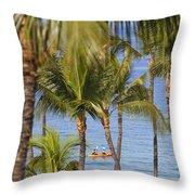 Kayakers Through Palms Throw Pillow