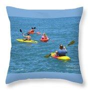 Kayaking Friends Throw Pillow