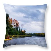 Kayaking In Autumn Throw Pillow