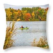 Kayaking In Fall Throw Pillow