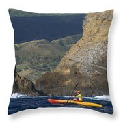 Kayaking In Molokai Throw Pillow