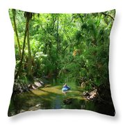 Kayaking In Tropical Paradise Throw Pillow
