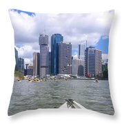 Kayaking On The Brisbane River Throw Pillow
