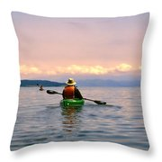 Kayaking Penn Cove Throw Pillow