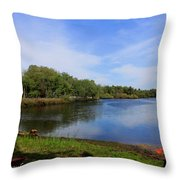Kayaking The Cotee River Throw Pillow