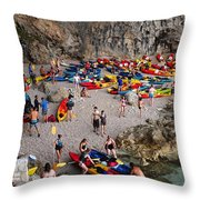Kayaks On A Beach Throw Pillow