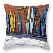 Kayaks On A Wall  Throw Pillow