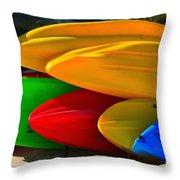 Kayaks On The Beach Throw Pillow