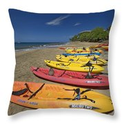 Kayas On Beach Throw Pillow