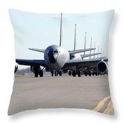 Kc-135 Stratotankers In Lephant Walk Throw Pillow