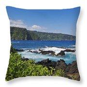 Keanae Peninsula, View Throw Pillow