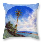 Ke'e Palm Throw Pillow by Kenneth Grzesik