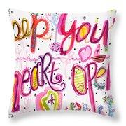 Keep Your Heart Open Throw Pillow