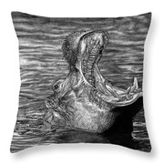 Keeper Of The Swamp - African Hippo Throw Pillow